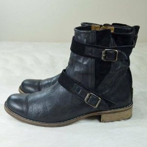 Paul Green Ally Leather Suede Belted Moto Boots